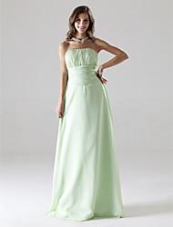 Linha A Princesa Sem Alças Longo Chiffon Baile de Fim de Ano Festa de Casamento Vestido com Pregueado Franzido de TS Couture®