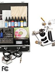 kit de tatuaje pro de suministro de tinta agujas con punta de alimentación de la máquina del tatuaje de la piel 1
