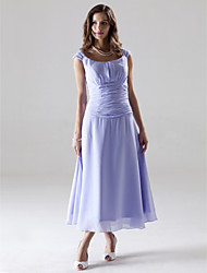 A-Line Princess Off-the-shoulder Tea Length Chiffon Bridesmaid Dress with Ruching by LAN TING BRIDE®