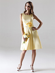 cheap -A-Line Straps Knee Length Satin Bridesmaid Dress with Draping Flower(s) by LAN TING BRIDE®