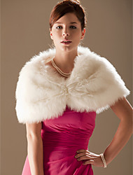 Sleeveless Faux Fur Wedding Fur Wraps Wedding  Wraps With Beading Shrugs