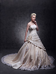 cheap -A-Line Strapless Cathedral Train Taffeta / Beaded Lace Made-To-Measure Wedding Dresses with Beading / Appliques / Flower by LAN TING