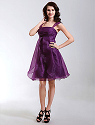 A-Line Princess Straps Knee Length Organza Cocktail Party Homecoming Holiday Dress with Ruching Ruffles by TS Couture®