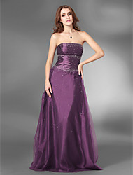 cheap -A-Line / Princess Strapless Floor Length Satin / Tulle Open Back Prom / Formal Evening Dress with Beading by TS Couture®