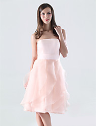 A-Line Strapless Knee Length Organza Satin Bridesmaid Dress with Ruffles Cascading Ruffles by LAN TING BRIDE®