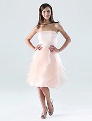 cheap -A-Line Strapless Knee Length Organza Satin Bridesmaid Dress with Ruffles Cascading Ruffles by LAN TING BRIDE®