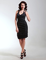 cheap -Sheath / Column V Neck / Straps Short / Mini Taffeta Little Black Dress Cocktail Party Dress with Ruched by TS Couture®