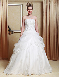 A-Line Princess Strapless Floor Length Organza Satin Wedding Dress with Beading Appliques Pick-Up by LAN TING BRIDE®