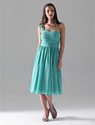 cheap -A-Line Princess One Shoulder Knee Length Chiffon Bridesmaid Dress with Ruching Pleats by LAN TING BRIDE®