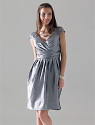 Sheath / Column V-neck Knee Length Taffeta Bridesmaid Dress with Draping Criss Cross by LAN TING BRIDE®
