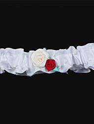 satin bryllup strømpebukser med blomst bryllup tilbehør klassisk elegant stil