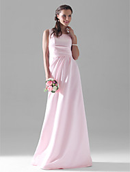 cheap -A-Line Scoop Neck Floor Length Satin Bridesmaid Dress with Side Draping by LAN TING BRIDE®