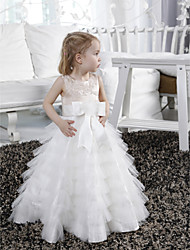 cheap -A-Line Floor Length Flower Girl Dress - Satin Tulle Sleeveless Jewel Neck with Beading by LAN TING BRIDE®