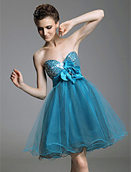 A-Line Princess Strapless Sweetheart Short / Mini Tulle Prom Dress with Draping by TS Couture®