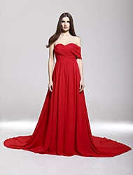 A-Line Sweetheart Off-the-shoulder Court Train Chiffon Formal Evening Dress with Criss Cross Pleats by TS Couture®