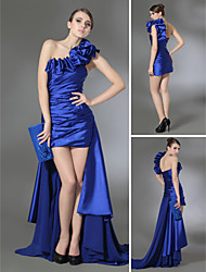 Sheath / Column One Shoulder Court Train Chiffon Stretch Satin Prom Formal Evening Dress with Draping Side Draping Ruffles by TS Couture®