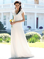 cheap -Mermaid / Trumpet V Neck Floor Length Chiffon Custom Wedding Dresses with Ruched by LAN TING BRIDE®