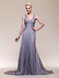 Sirène / trompette v-cou train tribunal chiffon stretch satin robe de soirée avec perles par ts couture®