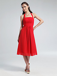 cheap -A-Line Halter Knee Length Chiffon Bridesmaid Dress with Draping by LAN TING BRIDE®