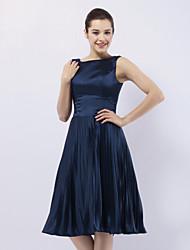 Trapèze Princesse Bateau Neck Mi-long Satin Elastique Soirée Cocktail Fête de Mariage Robe avec Plissé par TS Couture®