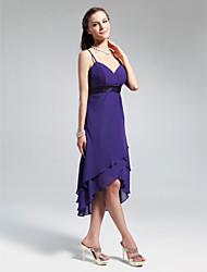 cheap -A-Line / Princess V Neck / Spaghetti Strap Knee Length / Asymmetrical Chiffon Bridesmaid Dress with Ruffles by LAN TING BRIDE®