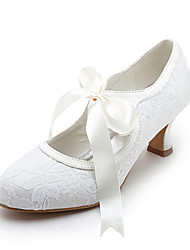 cheap -Women's Shoes Satin Stretch Satin Spring Summer Mary Jane Spool Heel Ribbon Tie for Wedding White Ivory