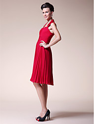 cheap -A-Line Straps Knee Length Chiffon Mother of the Bride Dress with Pleats Ruched by LAN TING BRIDE®