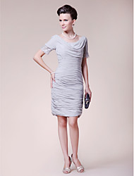 cheap -Sheath / Column Cowl Neck Knee Length Chiffon Mother of the Bride Dress with Beading / Lace / Ruched by LAN TING BRIDE®