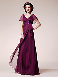 A-Line V-neck Floor Length Chiffon Mother of the Bride Dress with Flower(s) Ruffles by LAN TING BRIDE®