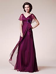 Linea-A A V Lungo Chiffon Abito da cerimonia per signora - Fiore (i) Con balze di LAN TING BRIDE®