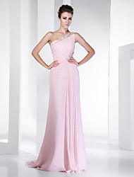 Bainha / coluna um ombro varredura / escova trem chiffon vestido de baile com beading by ts couture®