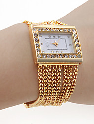 cheap -Women's PC Movement Golden Band White Dial Bracelet Watch with Czechic Diamond Decoration Cool Watches Unique Watches Strap Watch