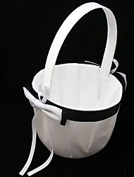 economico -semplice nero& cesto di ragazza fiore bianco in cerimonia di nozze in raso