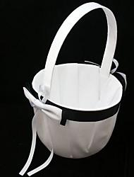 abordables -simple negro& cesta de niña de flor blanca en ceremonia de boda de satén