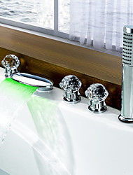 Contemporary Roman Tub Waterfall Widespread LED with  Ceramic Valve Five Holes Two Handles Five Holes for  Chrome , Bathtub Faucet