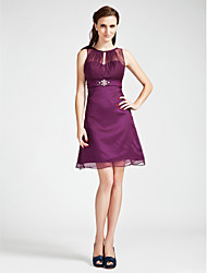 A-Line Princess Bateau Neck Short / Mini Chiffon Bridesmaid Dress with Beading Crystal Detailing Draping by LAN TING BRIDE®