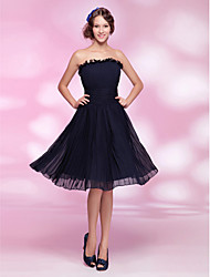 cheap -A-Line Princess Strapless Knee Length Chiffon Cocktail Party Dress with Draping Ruching Pleats Ruffles by TS Couture®