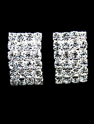 abordables -brillantes diamantes de imitación con unos pendientes de plata / aleación de planchas de novia