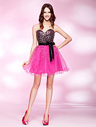 A-Line Princess Strapless Sweetheart Short / Mini Tulle Stretch Satin Sequined Prom Dress with Beading by TS Couture®