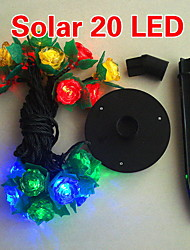 Solar 2m 20 liderada luz colorida flor lâmpada cadeia projeto para o Natal
