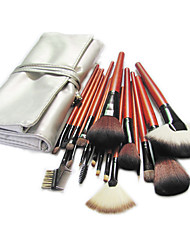 cheap -18pcs Makeup Brushes set Red Powder/Foundation/Concealer/Blush/Shadow/Eyeliner/Lip/Brow/Lashes Cosmetic Silver Bag