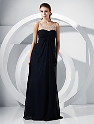A-Line Princess Scoop Neck Floor Length Chiffon Formal Evening Military Ball Dress with Beading Draping Lace by TS Couture®