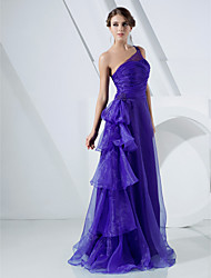 A-Line Princess One Shoulder Floor Length Organza Prom Dress with Beading by TS Couture®