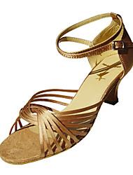 baratos -Mulheres Sapatos de Dança Latina / Dança de Salão Cetim Sandália / Salto Presilha Salto Agulha Não Personalizável Sapatos de Dança Preto / Vermelho / Dourado