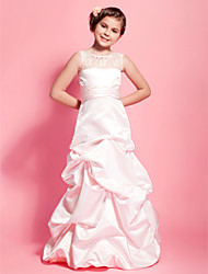 A-Line Princess Scoop Neck Floor Length Satin Junior Bridesmaid Dress with Ruching by LAN TING BRIDE®