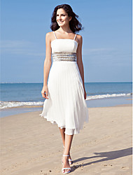 Sheath / Column Spaghetti Straps Tea Length Chiffon Wedding Dress with Sequin by LAN TING BRIDE®