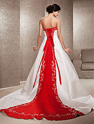 cheap -Ball Gown Strapless Cathedral Train Satin Made-To-Measure Wedding Dresses with Appliques / Embroidery by LAN TING BRIDE® / Wedding Dress in Color / Wedding Dress in Color