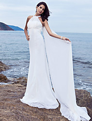 Sheath / Column Halter Sweep / Brush Train Chiffon Wedding Dress with Draped by LAN TING BRIDE®