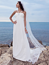 cheap -A-Line Sweetheart Neckline Watteau Train Chiffon Made-To-Measure Wedding Dresses with Beading by LAN TING BRIDE®