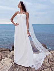 economico -Linea-A A cuore Strascico Watteau Chiffon Vestito da sposa con Perline di LAN TING BRIDE®